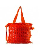 Hand Embroidered Vibrant Orange Color College Bag 124