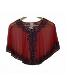 New Beautiful Red Poncho in Net Material for women