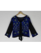 New Zinniabloom Stylish Black and Blue Color Georgette Fabric Free Size Poncho