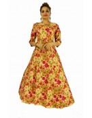 Gown - New Zinnia Bloom Designer Western Pink color Heavy Banglori Silk fabric Gown