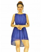Dress - New Zinnia Bloom Designer Western  Sydney Blue color  Georgette fabric Dress