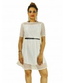 Dress - New Zinnia Bloom Designer Western Elite  White color Knitted Polyester fabric Dress