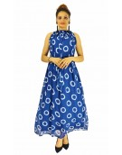 Gown - New Zinnia Bloom Designer Western Dyna Ring Blue color Premium Georgette fabric Gown
