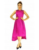 Gown - New Zinnia Bloom Designer Western  Nitya Rani Pink color Taffeta Silk and Heavy American Crepe fabric Gown