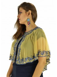Poncho -  Designer Golden Color Net Fabric Free Size Poncho