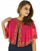 Poncho -  Designer Pink Color Net Fabric Free Size Poncho