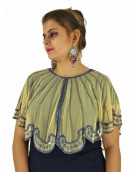 Poncho -  Stylish Golden Color Net Fabric Free Size Poncho