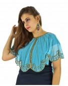 Poncho -  Stylish Sky Blue Color Net Fabric Free Size Poncho
