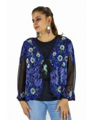 Poncho -  Stylish Black and Blue Color Georgette Fabric Free Size Poncho