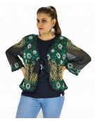 Poncho -  Stylish Black and Green Color Georgette Fabric Free Size Poncho