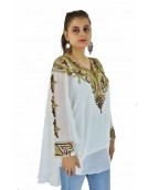 Poncho -  Stylish Kaftan White Color Georgette Fabric Free Size Poncho