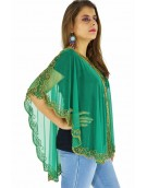 Poncho -  Stylish Green Color Net Fabric Free Size Poncho