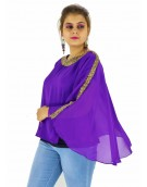 Poncho -  Stylish Purple Color Georgette Fabric Free Size Poncho