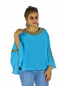 Poncho -  Stylish Sky Blue Color Georgette Fabric Free Size Poncho