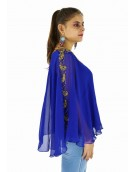 Poncho -  Blue Short Poncho in Georgette Material for women