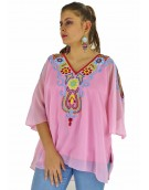 Poncho -  Stylish 2  Cut  Opceke Pink Color Georgette Fabric Free Size Poncho