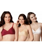 BRA - Women's M1001 Cotton T Shirt Multiway Non Padded Seamless Bra - WHITE