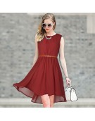 Dress - New Zinnia Bloom Designer Western  Sydney Maroon color  Georgette fabric Dress