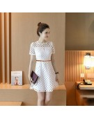 New Zinniabloom Designer Western Elite  White color Knitted Polyester fabric Dress