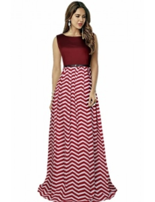 Gown for Women in colour Zigzag Maroon