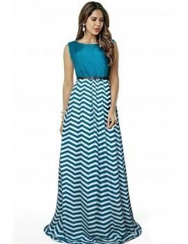 New Zinniabloom Designer Western Zigzag Green color Taffeta Silk and Premium Silk fabric Gown