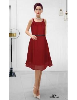New Zinniabloom Designer Western Maroon color Georgette Fabric Dress
