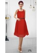 Dress -  Designer Western Red color Georgette Fabric Dress