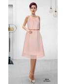 Dress -  Designer Western Peach color Georgette Fabric Dress
