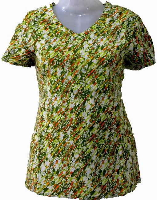 Women's Top - Green Flower Print