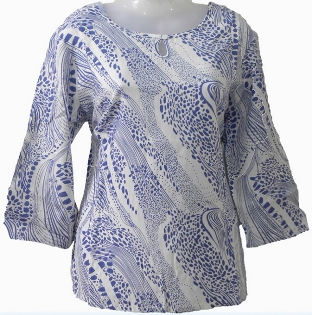 Women's Top - Blue Print on White