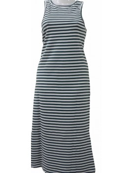 Women's Maxi Dress - Green Horizontal Stripe