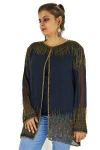 Poncho -  Stylish Black and Golden Beads Color Georgette Fabric Free Size Poncho
