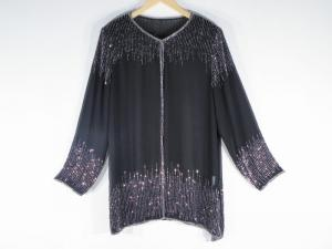 Poncho -  Stylish Black and Silver Beads Georgette Color Fabric Free Size Poncho