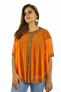 Poncho -  Stylish Orange Color Net Fabric Free Size Poncho