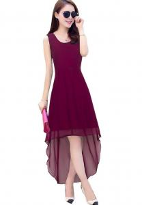 Dress - New Zinnia Bloom Designer Western Burger Wine color Small sized Georgette fabric Dress