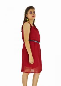 Dress -  Designer Western Maroon color Georgette Fabric Dress