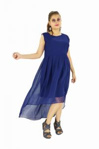 Dress - New Zinnia Bloom Designer Western Burger Navy  Blue color Georgette fabric Dress