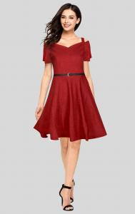 Dress -  Designer Western Maroon color Knitted Polyester fabric Dress