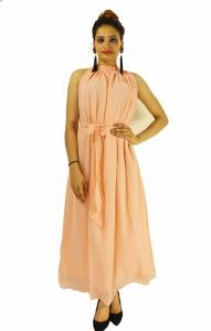 Gown -  Designer Western Dyna Peach color Premium Georgette fabric Gown