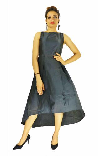 Gown -  Designer Western  Nitya Black color Taffeta Silk and Heavy American Crepe fabric Gown