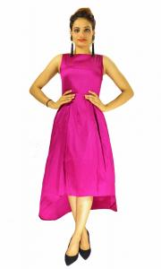 Gown -  Designer Western  Nitya Rani Pink color Taffeta Silk and Heavy American Crepe fabric Gown