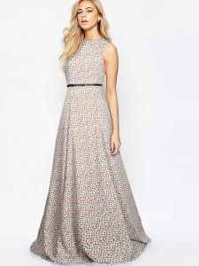 Gown -  Designer Western Pepe Leopard  color Heavy American Crepe fabric Gown