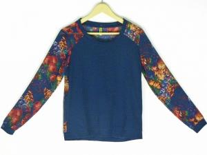 Top -  Designer Dark Floral Print Navy Blue Top For Women