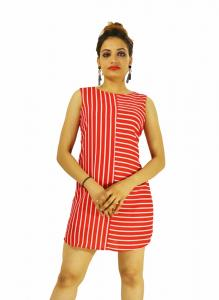 Dress -  Designer Red Stipes Top For Women