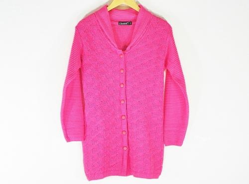 New Stylish Hot Woolen Baby Pink Cardigan For Women - Large Size