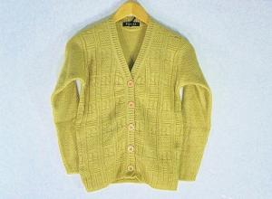 New Stylish Hot Woolen Golden Color Cardigan For Women - L Size